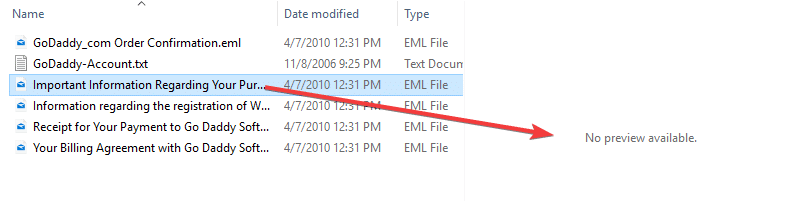 .eml file no preview available