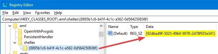 .eml file preview explorer regedit