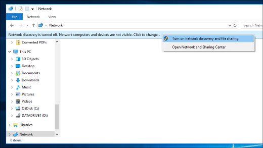 network discovery enable file explorer