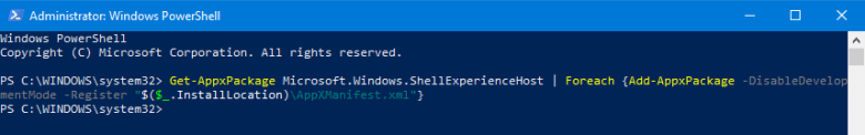 reinstall shellexperiencehost windows 10