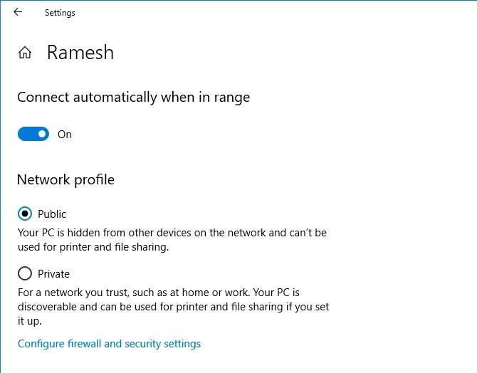 network profile private or public
