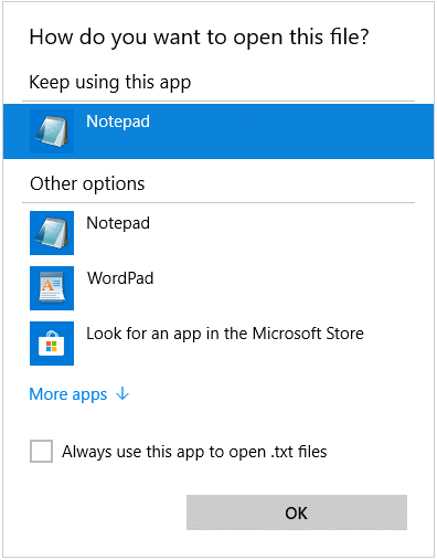 notepad appears twice in open with dialog
