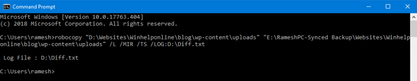 robocopy command list differences folders