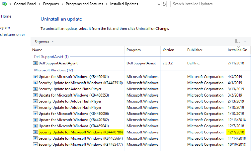 Check if a Windows Update KB is Installed - programs and features, control panel