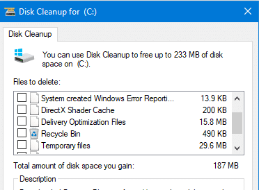 disk cleanup remove downloads option