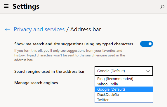 edge chromium - set google as default search engine