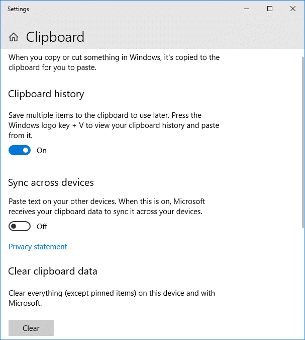 clipboard user service name - clear history - settings