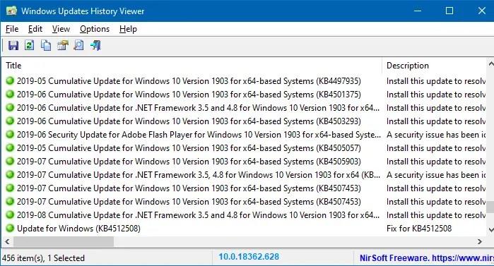 WinUpdatesView - Windows Updates History Viewer