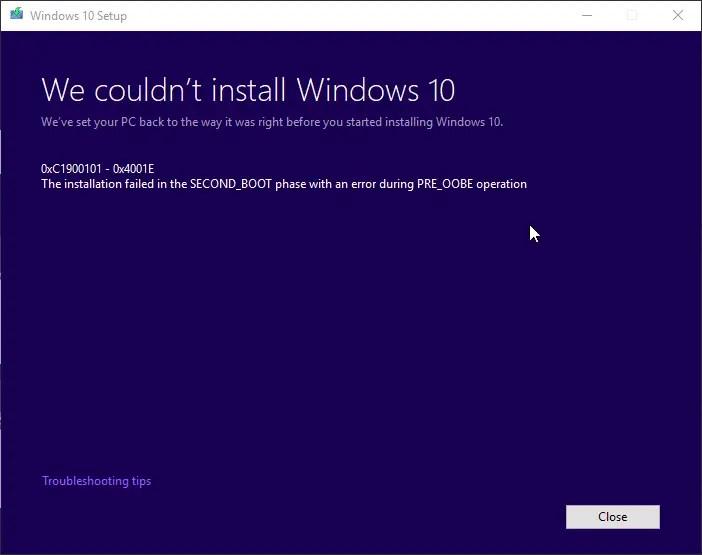 0xc1900101 windows 10 1809