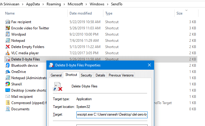 delete 0-byte empty files in windows - vbscript