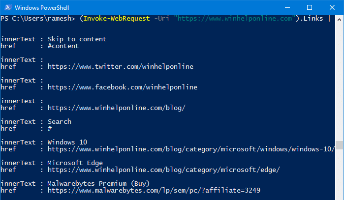 extract links from a webpage in windows