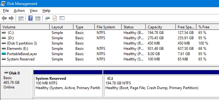 system reserved partition disk management