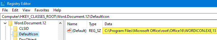 word .docx and .doc files show generic white icon - registry defaulticon