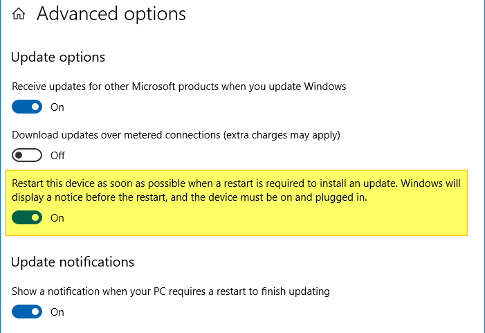 install updates and shut down windows 10