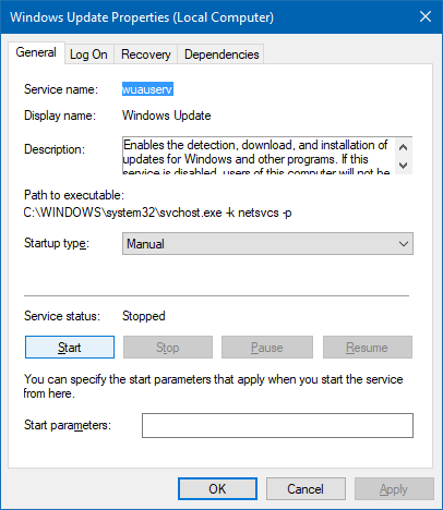 windows update service properties tab grayed out - wuauserv sddl fix