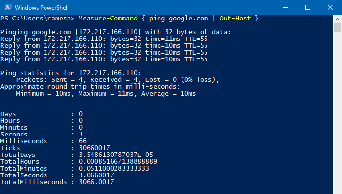 measure total execution time of a command or program