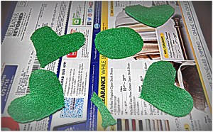 Felt cut into shapes to create 4-leaf clover
