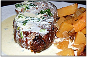 Steak with gorgonzola sauce and pan roasted rutabaga