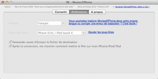 movie2iphone options