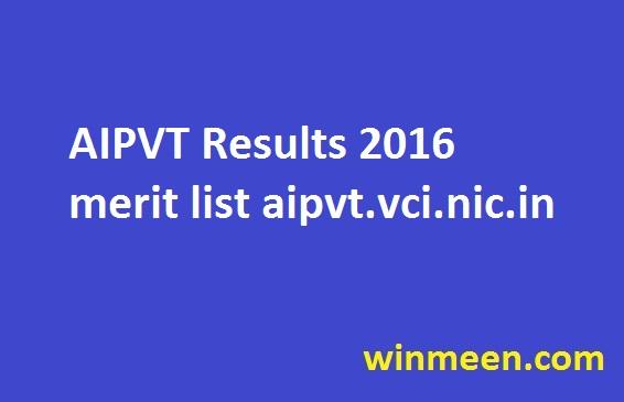 AIPVT Results 2016 merit list