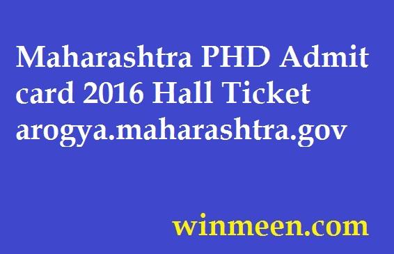 Maharashtra PHD Admit card 2016 Hall Ticket