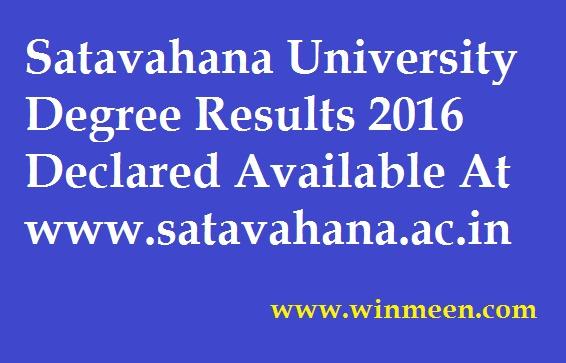 Satavahana University Degree Results 2016 Declared