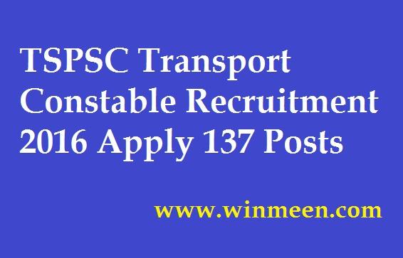 TSPSC Transport Constable Recruitment 2016 Apply 137 Posts