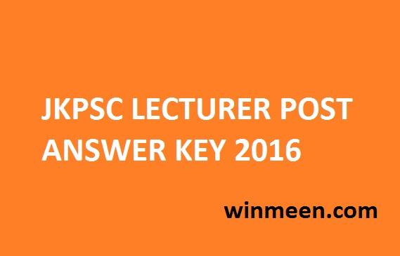 JKPSC LECTURER POST ANSWER KEY 2016