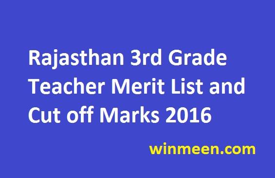 Rajasthan 3rd Grade Teacher Merit List and Cut off Marks 2016