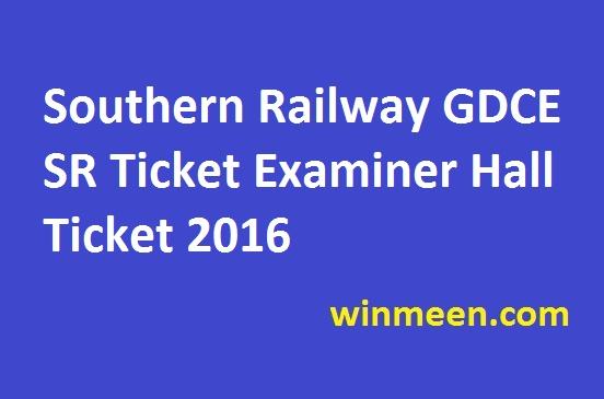 Southern Railway GDCE SR Ticket Examiner Hall Ticket 2016