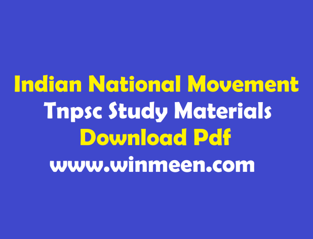 Tnpsc Indian National Movement Study Materials Download Pdf