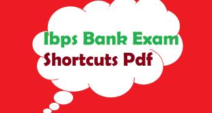 Ibps Bank exam Shortcuts Pdf