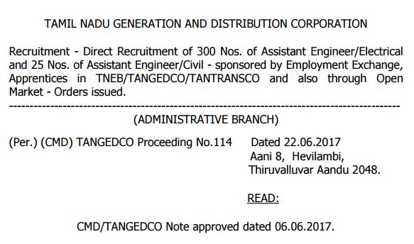 Tangedco Direct Recruitment 2017 300 Electrical Assistant Engineer 25 Civil AE Apprentice Posts