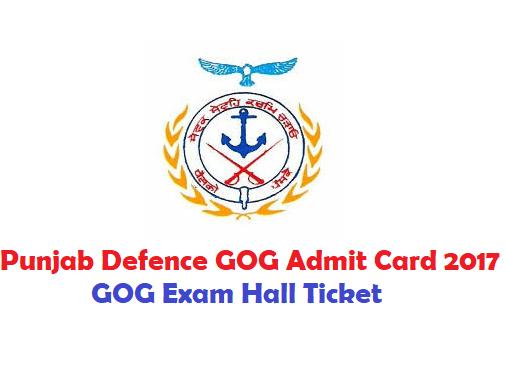 Punjab Defence Guardians Governance Admit Card 2017 GOG Exam Hall Ticket