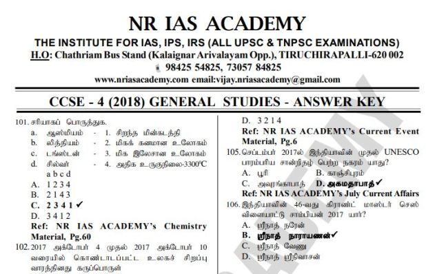Tnpsc Group 4 Answer Key 2018 By NR IAS ACADEMY - WINMEEN