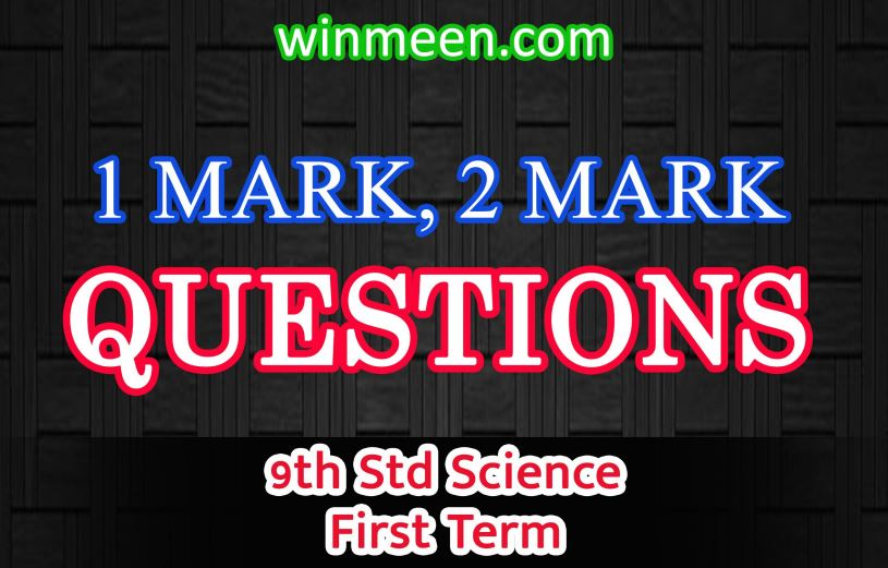 9th Science Book Back Questions - New Book | One Mark 2 Mark