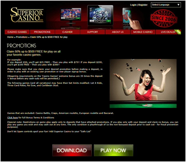 Superior Casino Bonuses and Coupons