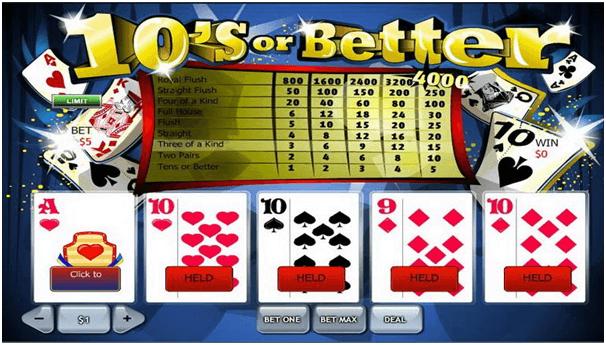 Video poker at casinos