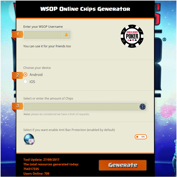 WSOP- Chip Generator