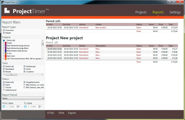 Project Timer, a work timer in Windows