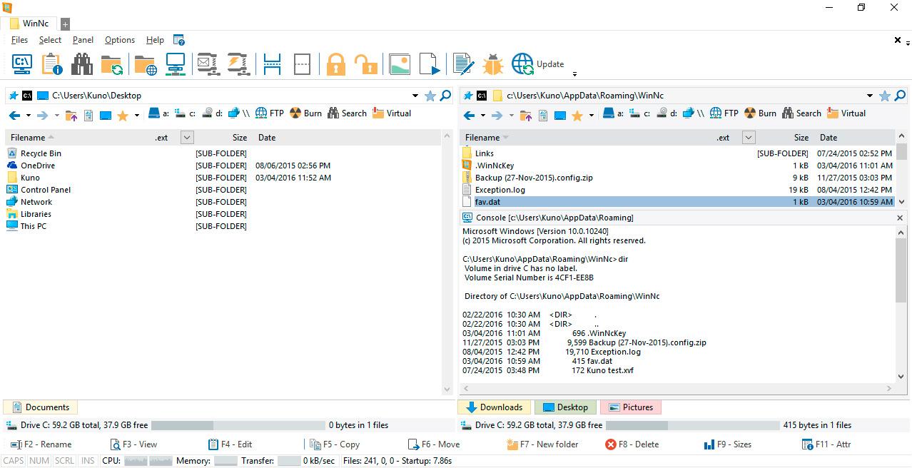 WinNc console command prompt