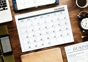 Business calendar and desk