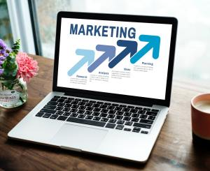 Computer with marketing graphic