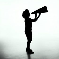 Woman silhouette with megaphone