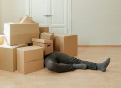 Person under pile of boxes