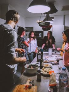 People talking in kitchen