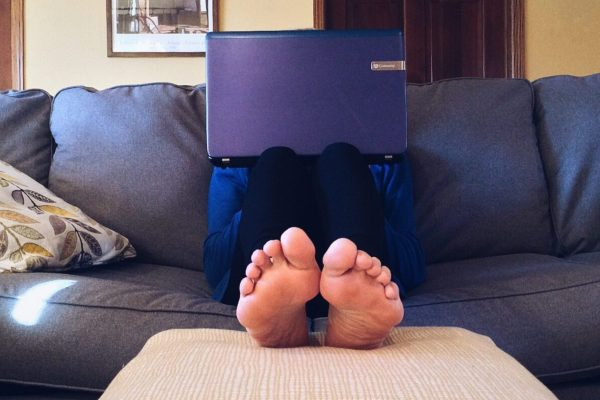 Person working on couch