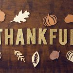 Thankful word with fall decor