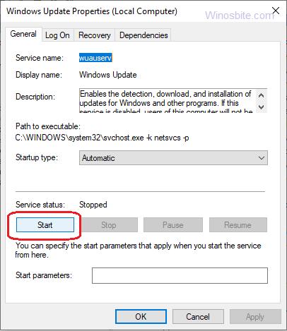 Свойства Центра обновления Windows