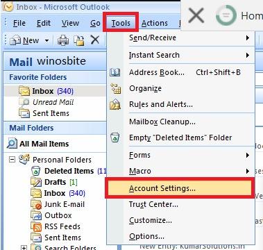 настройки учетной записи Outlook